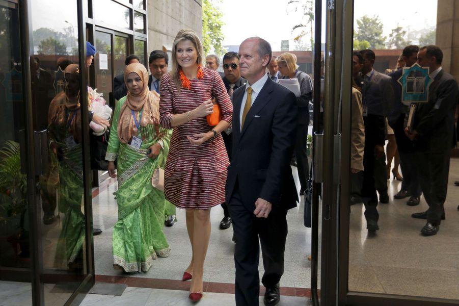La reine Maxima des Pays-Bas à Dhaka au Bengladesh, le 16 novembre 2015