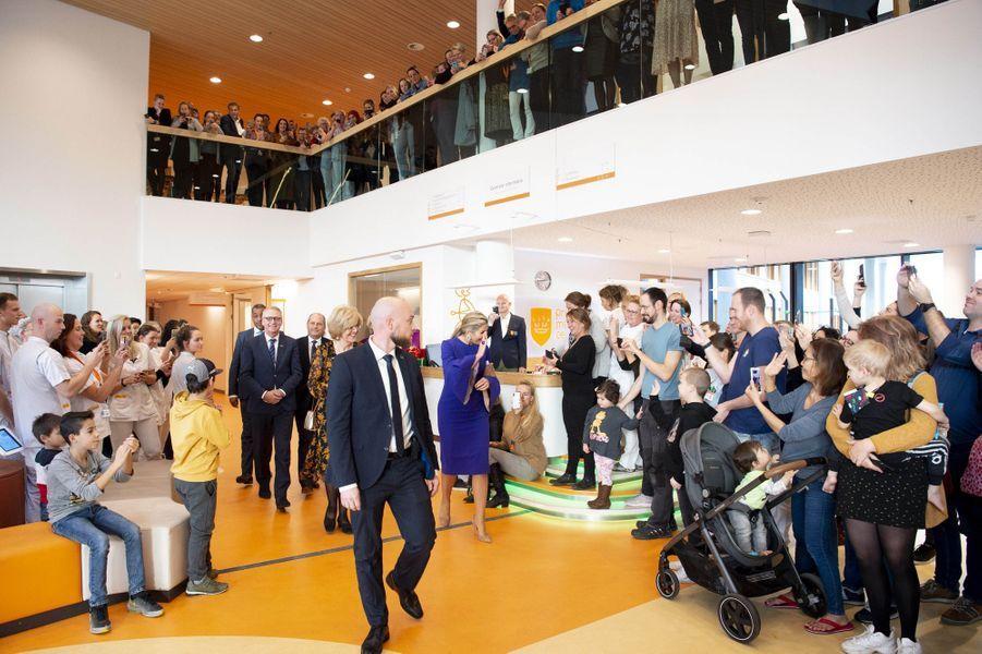 La reine Maxima des Pays-Bas au centre d'oncologie pédiatrique Princesse Maxima à Utrecht, le 3 décembre 2019