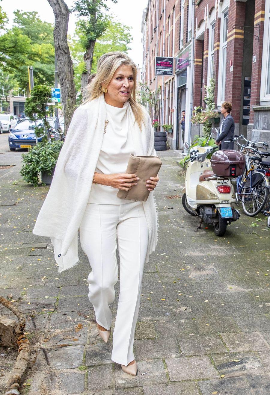 La reine Maxima des Pays-Bas, dans un look immaculé, à Rotterdam le 3 septembre 2020