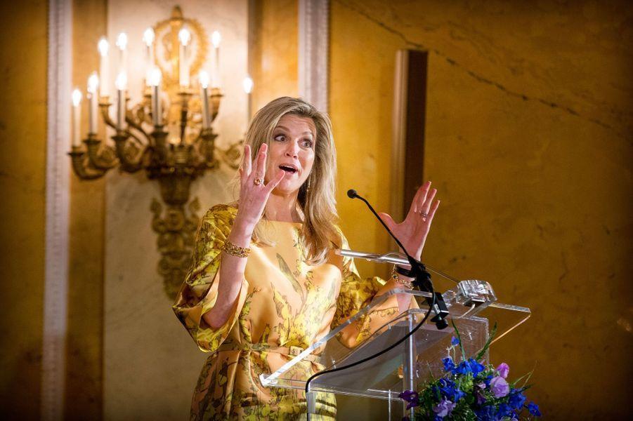 La reine Maxima des Pays-Bas au palais Noordeinde à La Haye, le 21 mai 2015