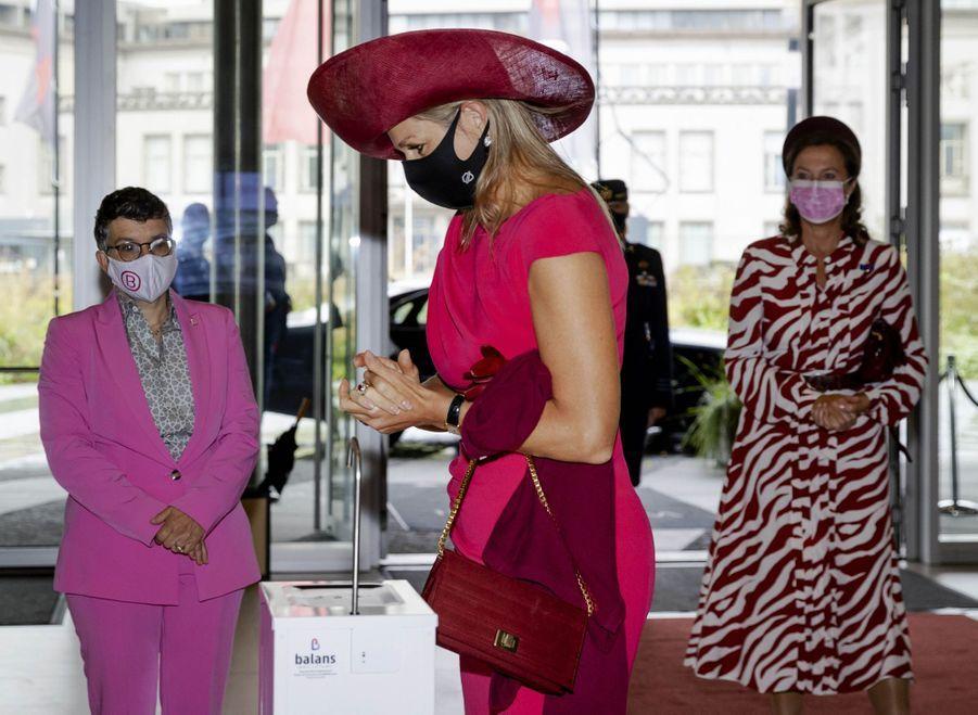 La reine Maxima des Pays-Bas masquée à La Haye, le 1er octobre 2020