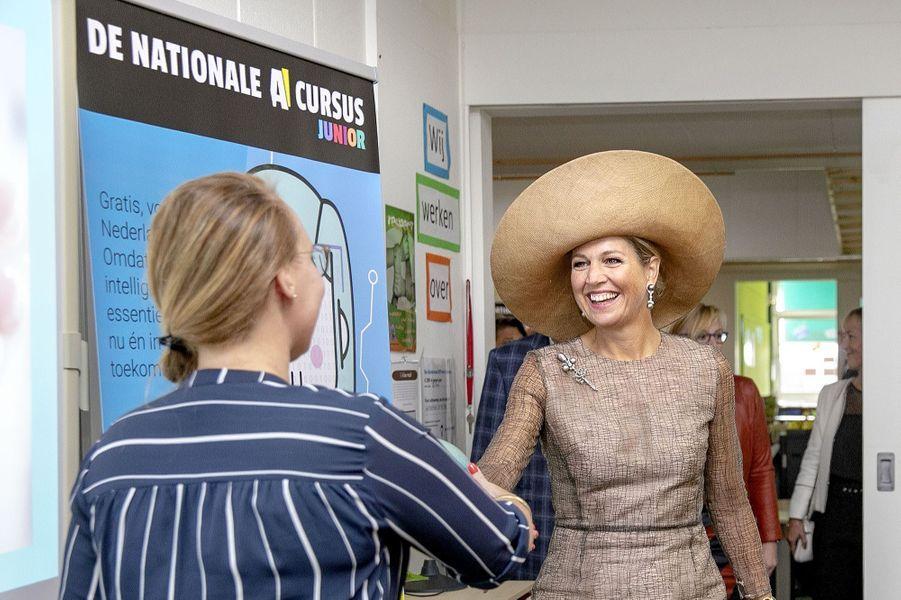 La reine Maxima des Pays-Bas une école primaire à Toldijk, le 4 septembre 2019