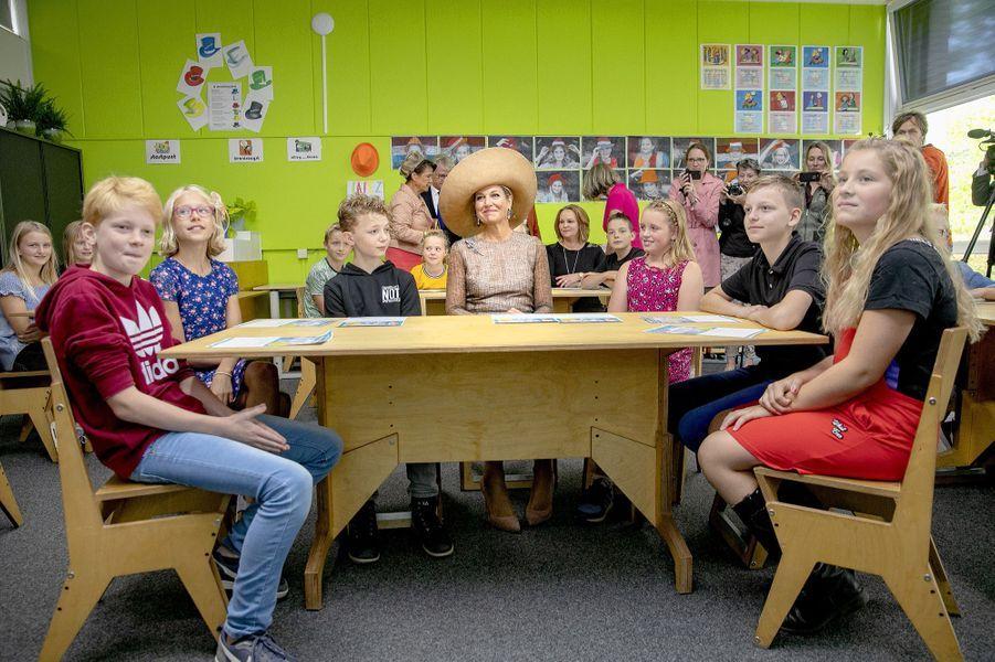 La reine Maxima des Pays-Bas une école à Toldijk, le 4 septembre 2019