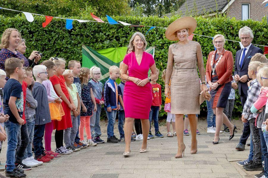 La reine Maxima des Pays-Bas dans une robe Natan à Toldijk, le 4 septembre 2019
