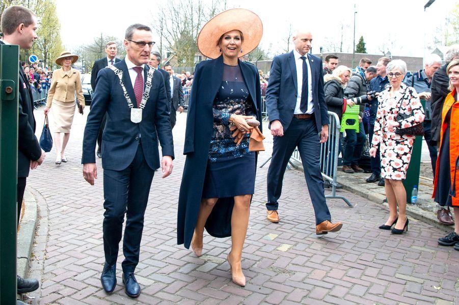 La reine Maxima des Pays-Bas dans une robe Natan Couture à Lieshout, le 28 mars 2019