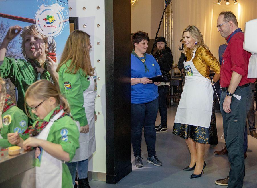 La reine Maxima des Pays-Bas rejoint des louveteaux à Noordwijkerhout, le 15 janvier 2020