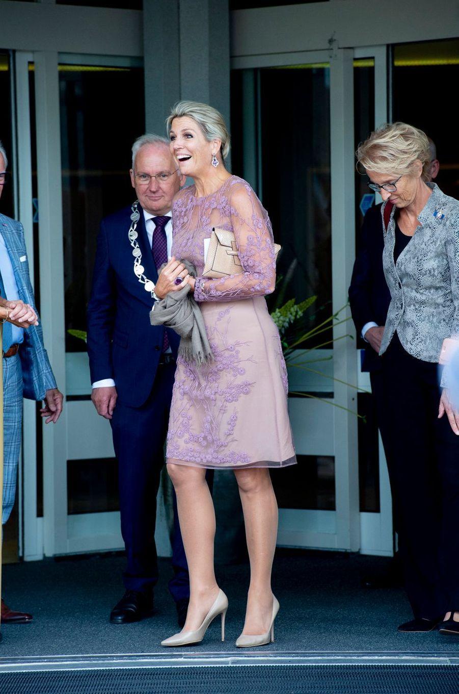 La reine Maxima des Pays-Bas dans une robe Natan à Giessenburg, le 10 septembre 2019