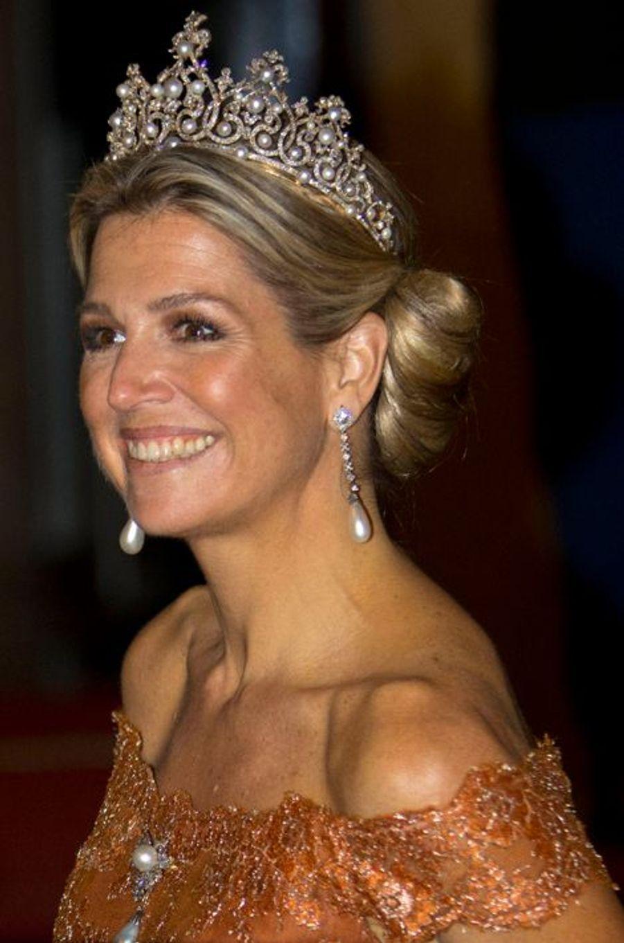 La reine Maxima des Pays-Bas après le dîner de gala des diplomates à Amsterdam, le 24 juin 2015