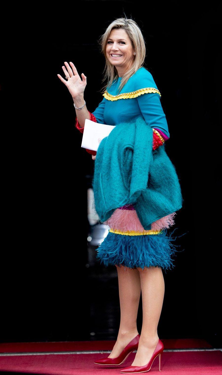 La reine Maxima des Pays-Bas, dans une robe Claes Iversen, à Amsterdam le 28 novembre 2019