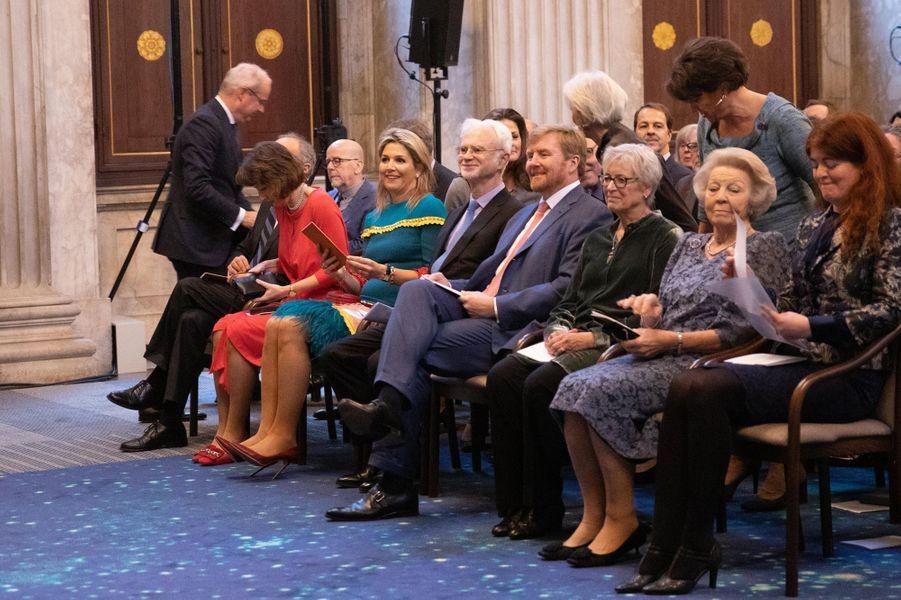 La reine Maxima, le roi Willem-Alexander et la princesse Beatrix des Pays-Bas à Amsterdam, le 28 novembre 2019