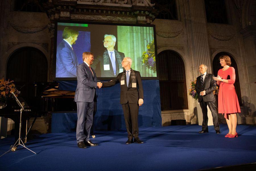 Le roi Willem-Alexander des Pays-Bas et John Adams à Amsterdam, le 28 novembre 2019