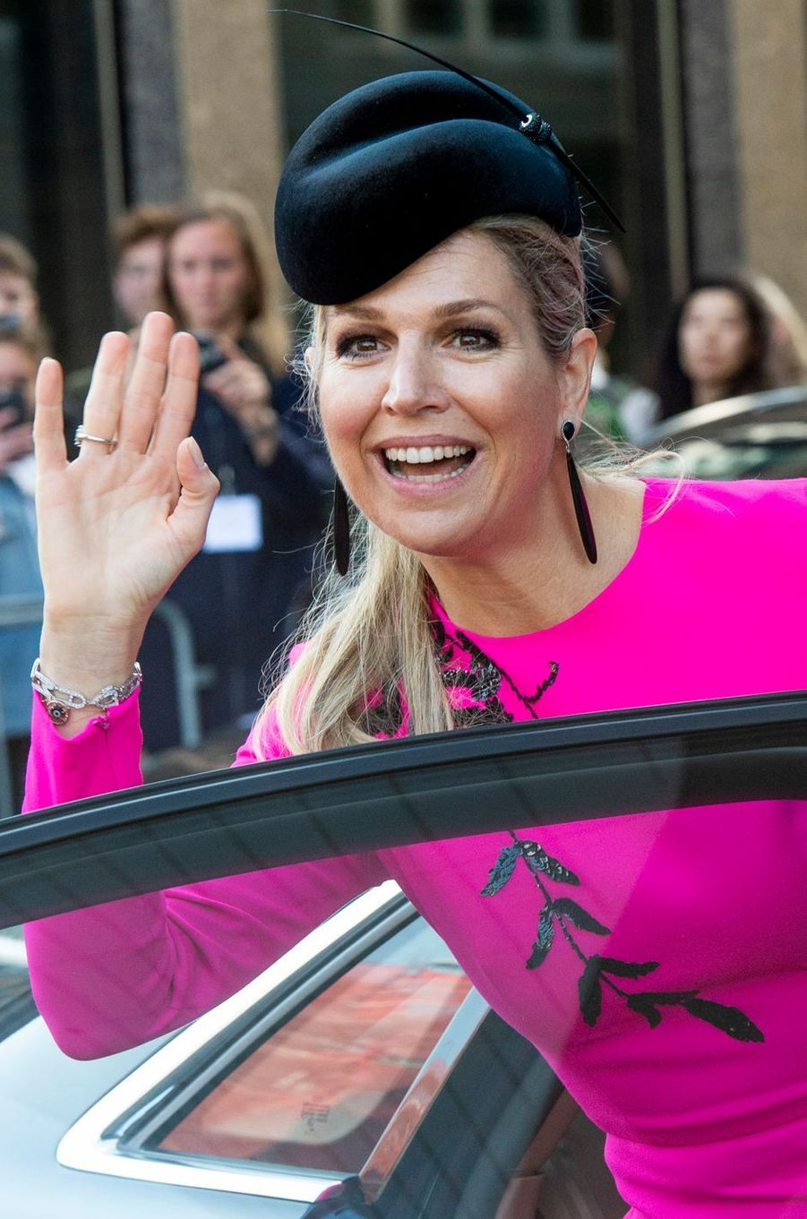 La reine Maxima des Pays-Bas en déplacement à Utrecht, le 18 avril 2019