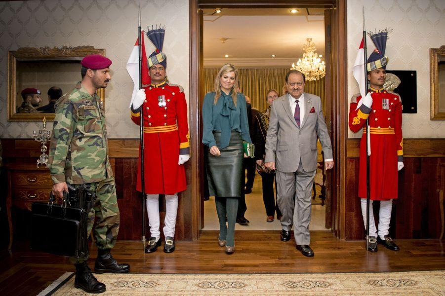 La reine Maxima des Pays-Bas avec le président Mamnoon Hussain à Islamabad, le 11 février 2016