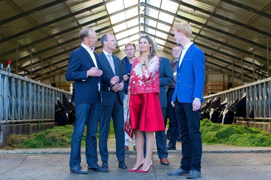 La reine Maxima des Pays-Bas visite une ferme à Workum, le 9 septembre 2015