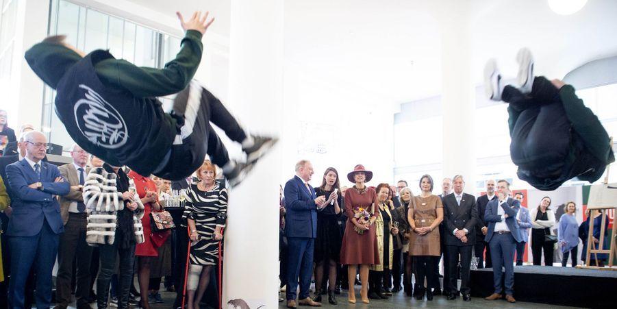 La reine Maxima des Pays-Bas inaugure une exposition Basquiat à Heerlen, le 31 janvier 2019