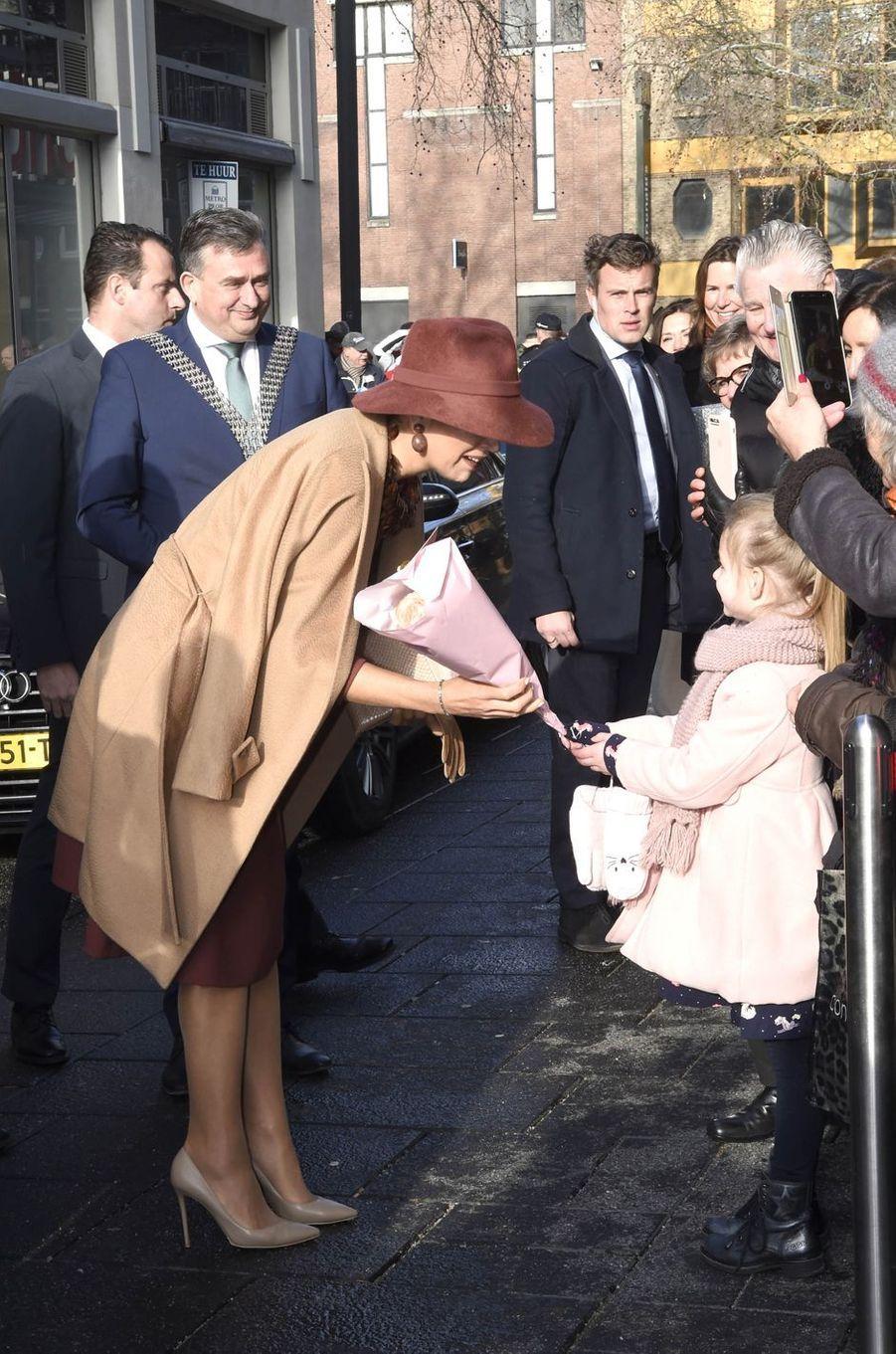 La reine Maxima des Pays-Bas à son arrivée à Heerlen, le 31 janvier 2019