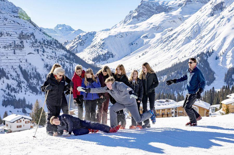 La famille royale des Pays-Bas à Lech dans les Alpes autrichiennes, le 25 février 2019