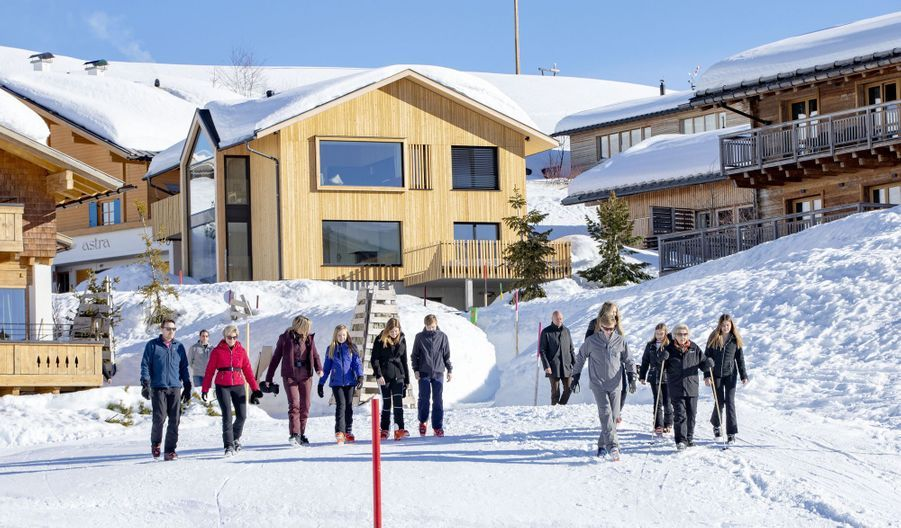 La famille royale des Pays-Bas dans la station de ski de Lech dans les Alpes autrichiennes, le 25 février 2019