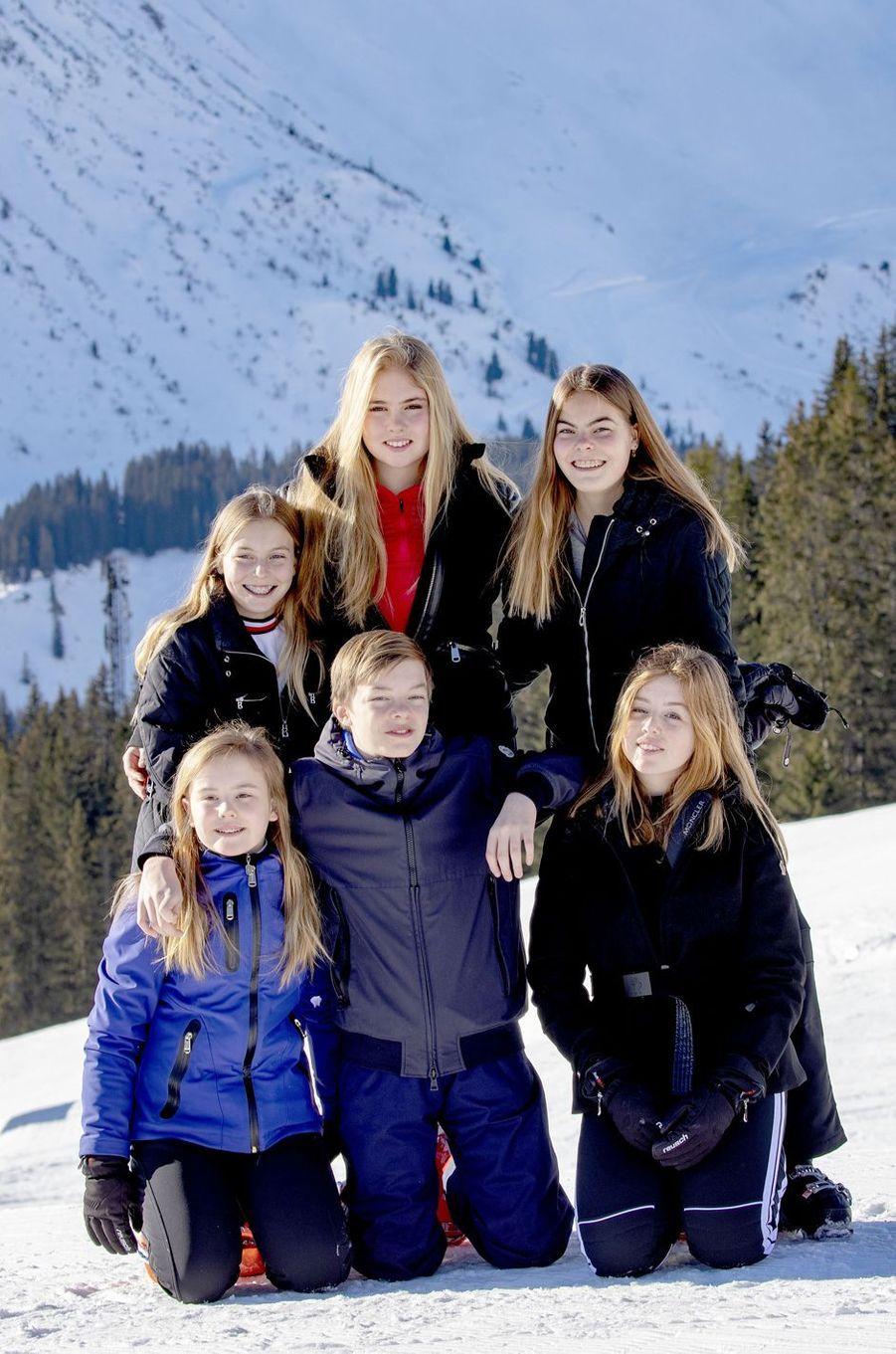 Les princesses Catharina-Amalia, Alexia et Ariane des Pays-Bas avec leurs cousins à Lech, le 25 février 2019