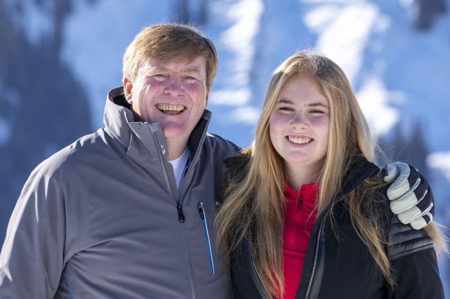 La princesse Catharina-Amalia et le roi Willem-Alexander des Pays-Bas à Lech, le 25 février 2019