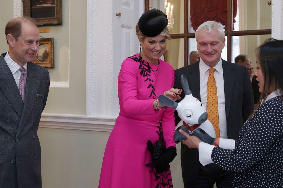 La reine Maxima des Pays-Bas et le prince Edward à Londres, le 24 octobre 2018