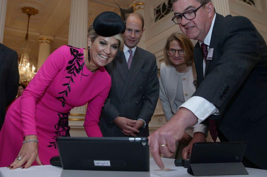 La reine Maxima des Pays-Bas avec le prince Edward à Londres, le 24 octobre 2018