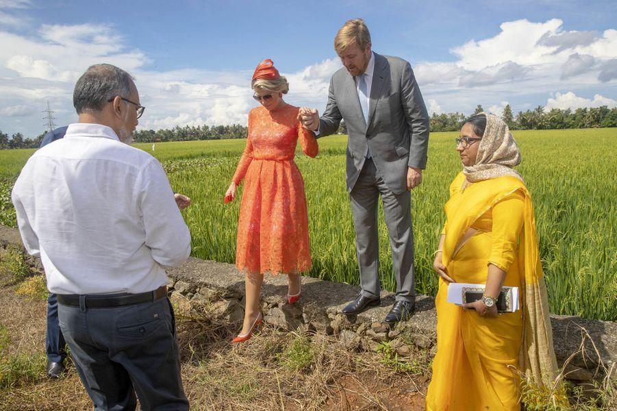 La reine Maxima et le roi Willem-Alexander des Pays-Bas, le 18 octobre 2019 dans l'Etat du Kerala
