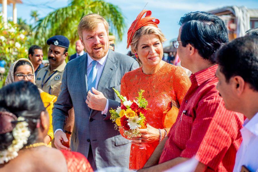 Le roi Willem-Alexander et la reine Maxima des Pays-Bas, le 18 octobre 2019 dans l'Etat du Kerala
