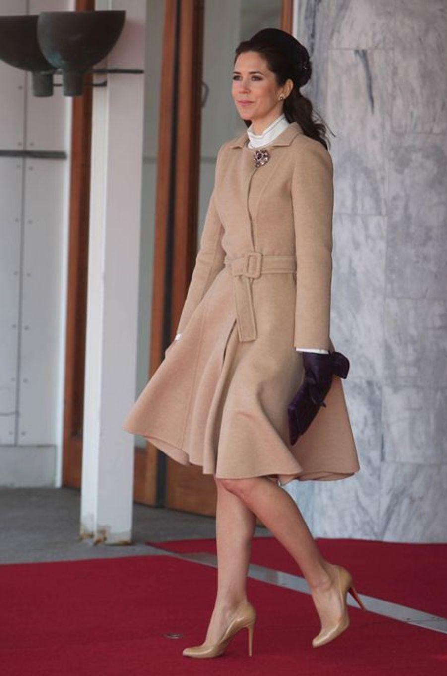 La princesse Mary de Danemark à l'aéroport de Copenhague, le 17 mars 2015