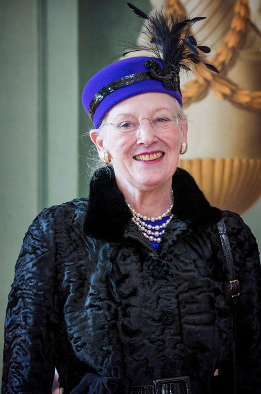 La reine Margrethe II de Danemark au château de Fredensborg, le 17 mars 2015