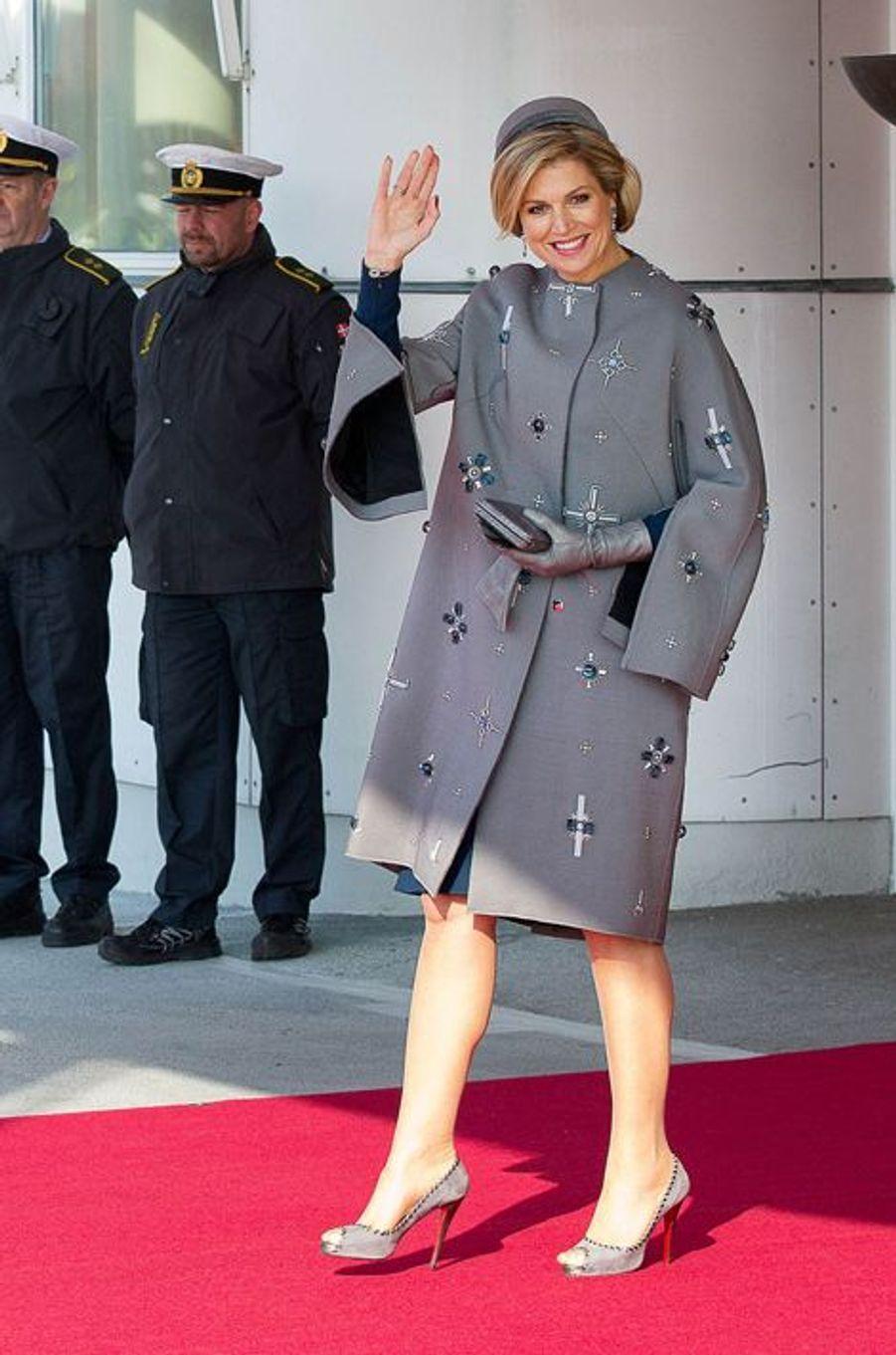 La reine Maxima des Pays-Bas à l'aéroport de Copenhague, le 17 mars 2015