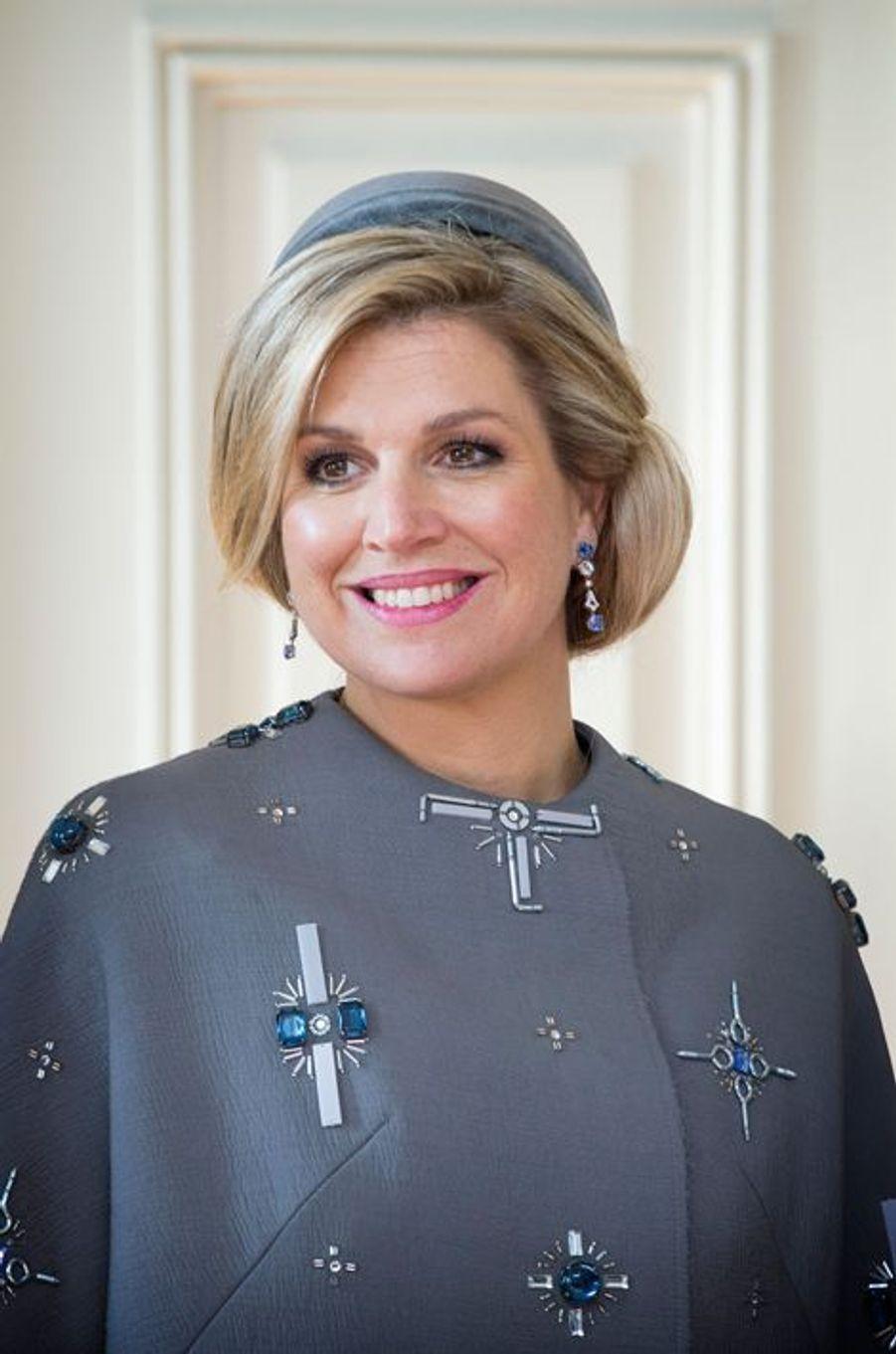 La reine Maxima des Pays-Bas au château de Fredensborg, le 17 mars 2015
