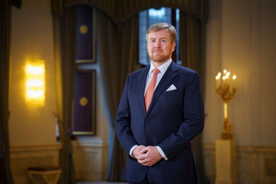 L'un des nouveaux portraits du roi Willem-Alexander des Pays-Bas au Palais royal à Amsterdam, dévoilé le 8 février 2020