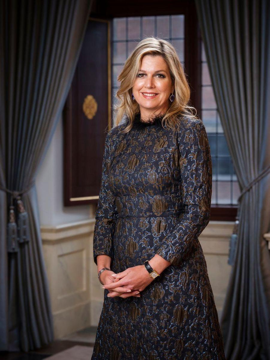 Nouveau portrait de la reine Maxima des Pays-Bas au Palais royal à Amsterdam, diffusé le 8 février 2020