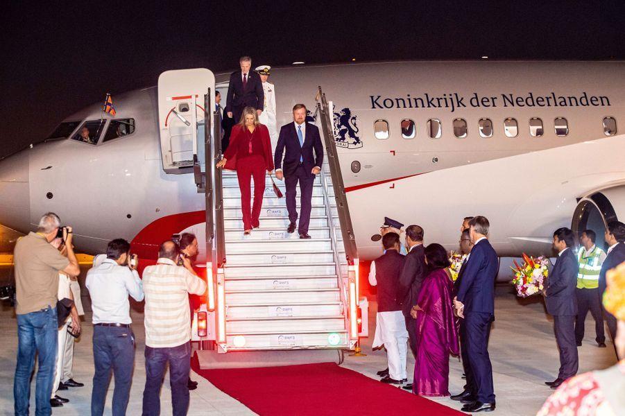La reine Maxima et le roi Willem-Alexander des Pays-Bas à leur arrivée à New Delhi, le 13 octobre 2019