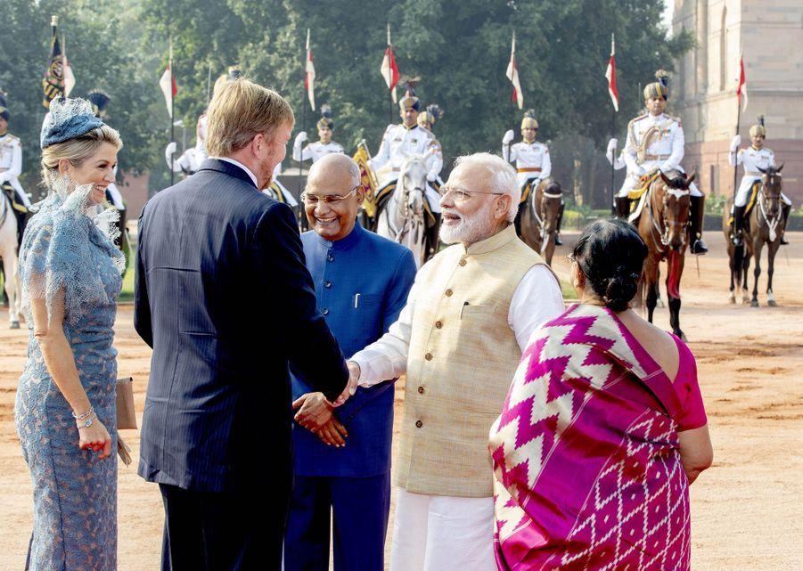 La reine Maxima et le roi Willem-Alexander des Pays-Bas avec le Premier ministre indien, le président de l'Inde et sa femme à New Delhi, le 14 octobre 2019