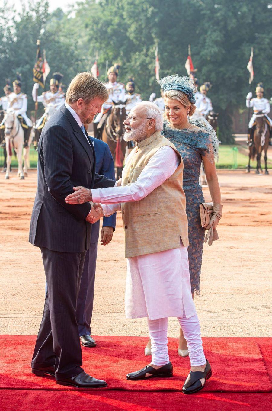 La reine Maxima et le roi Willem-Alexander des Pays-Bas avec le Premier ministre indien à New Delhi, le 14 octobre 2019
