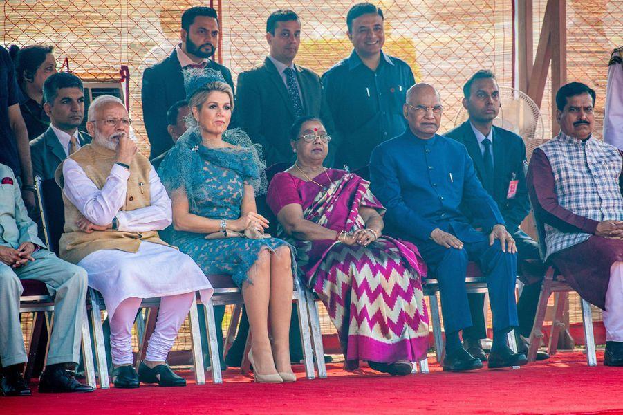La reine Maxima des Pays-Bas avec le Premier ministre indien, le président de l'Inde et sa femme à New Delhi, le 14 octobre 2019