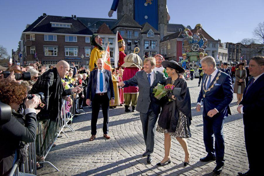 La reine Maxima et le roi Willem-Alexander des Pays-Bas dans le Brabant-Septentrional, le 16 février 2016