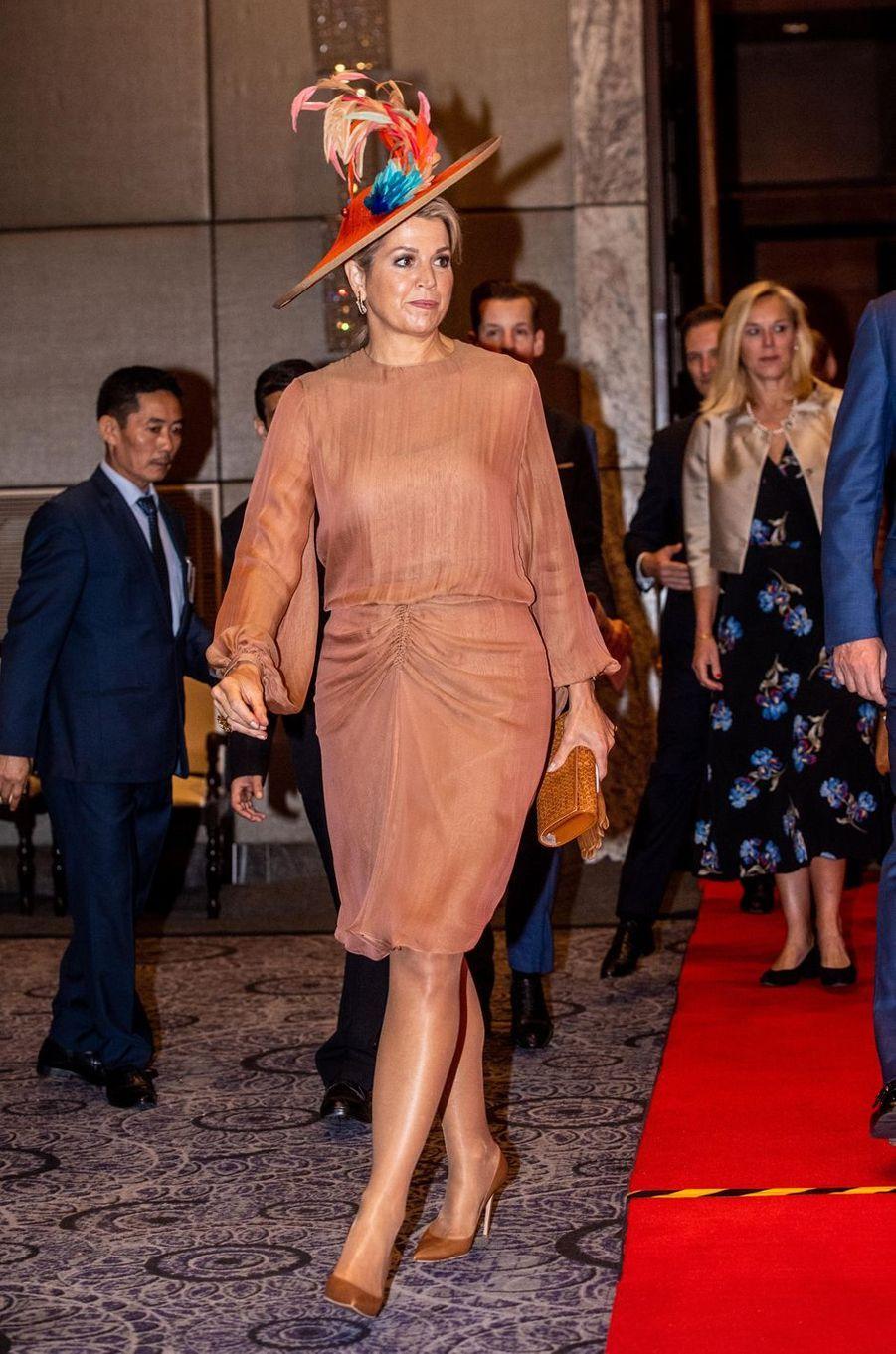 La reine Maxima des Pays-Bas, dans une robe Natan, à New Delhi le 15 octobre 2019