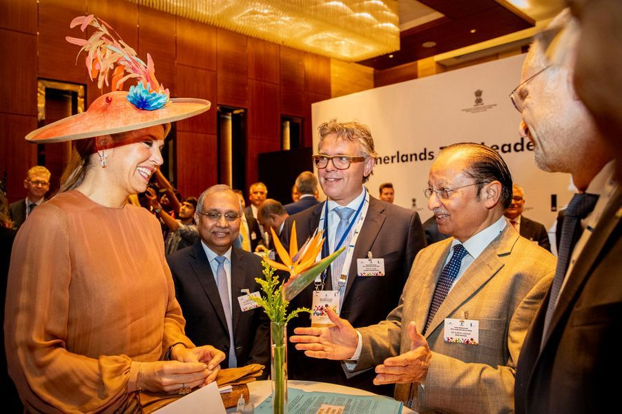 La reine Maxima des Pays-Bas à New Delhi en Inde, le 15 octobre 2019