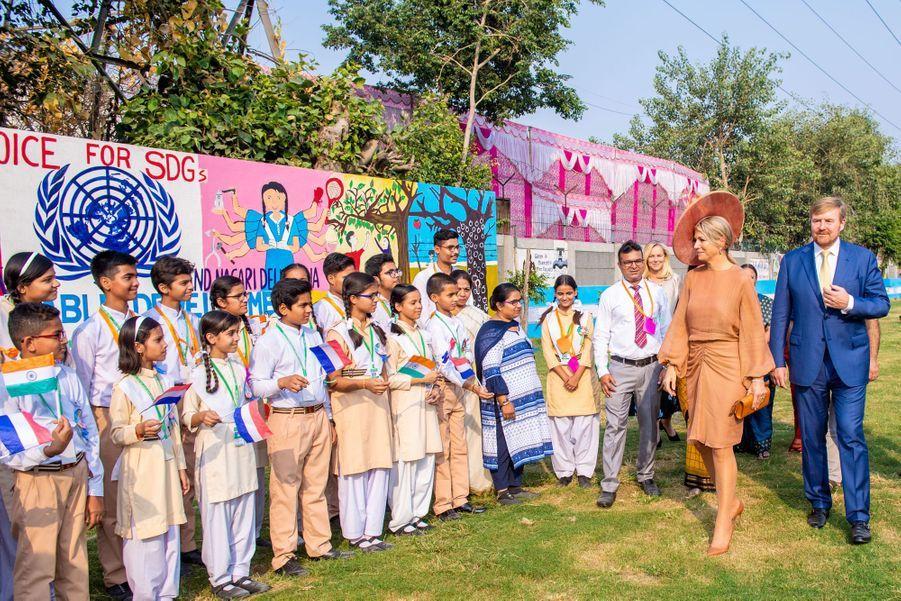 La reine Maxima et le roi Willem-Alexander des Pays-Bas dans une école à New Delhi, le 15 octobre 2019