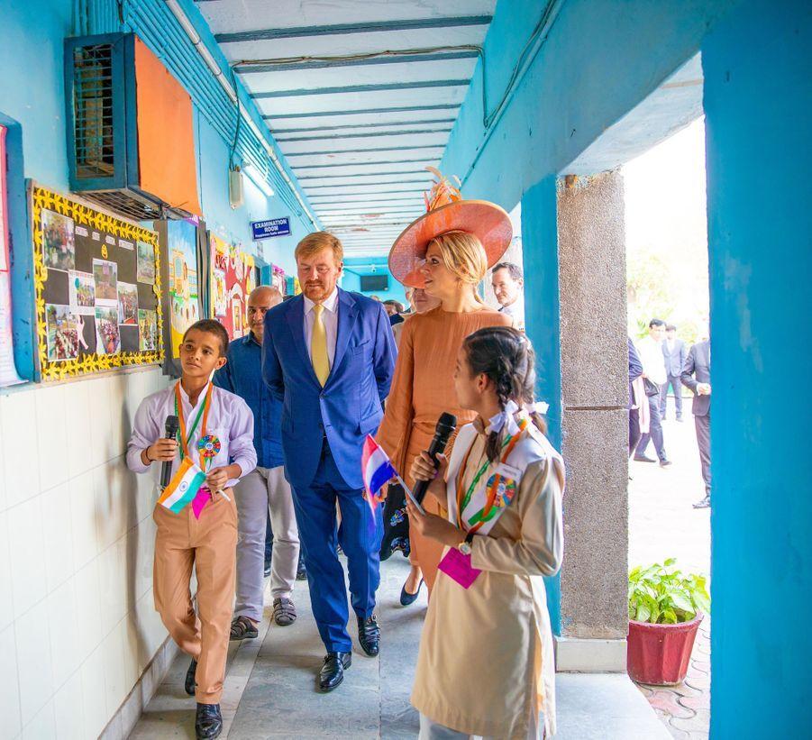La reine Maxima et le roi Willem-Alexander des Pays-Bas à New Delhi, le 15 octobre 2019