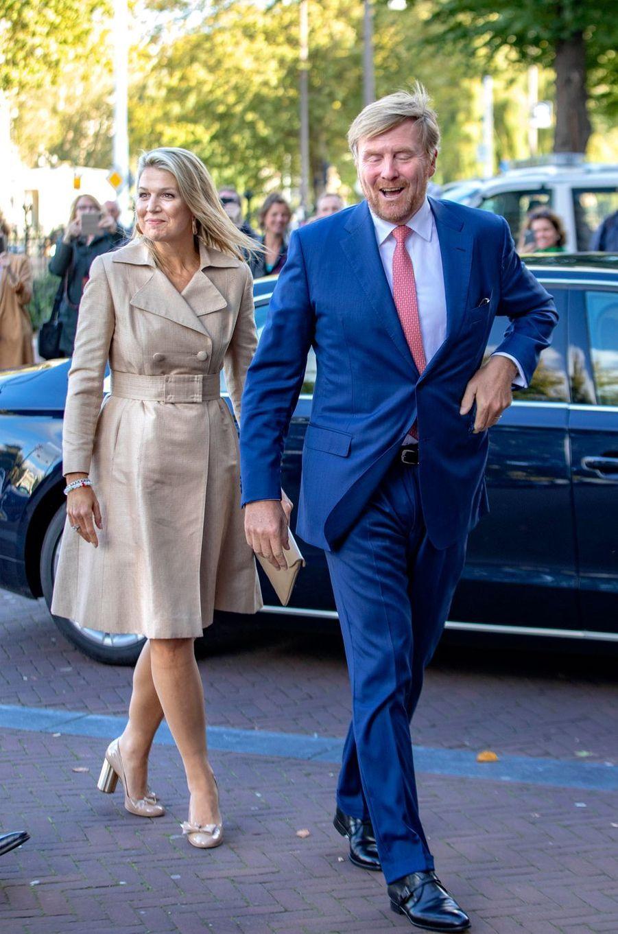 La reine Maxima, en Natan, et le roi Willem-Alexander des Pays-Bas à Amsterdam, le 30 septembre 2019