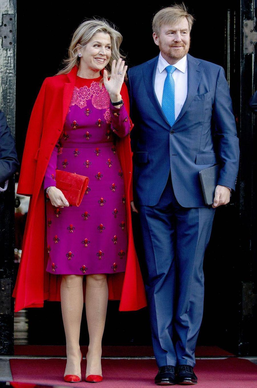 La reine Maxima, dans une robe Claes Iversen, et le roi Willem-Alexander des Pays-Bas à Amsterdam, le 4 décembre 2019