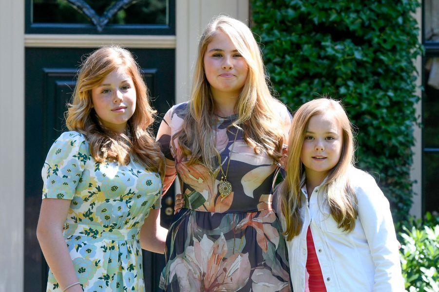 Les princesses Alexia, Catharina-Amalia et Ariane des Pays-Bas à Wassenaar, le 13 juillet 2018