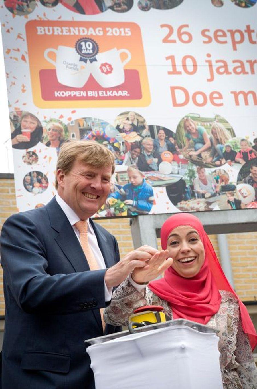 Le roi Willem-Alexander des Pays-Bas lance la 10e édition du Burendag à Harderwijk, le 19 juin 2015