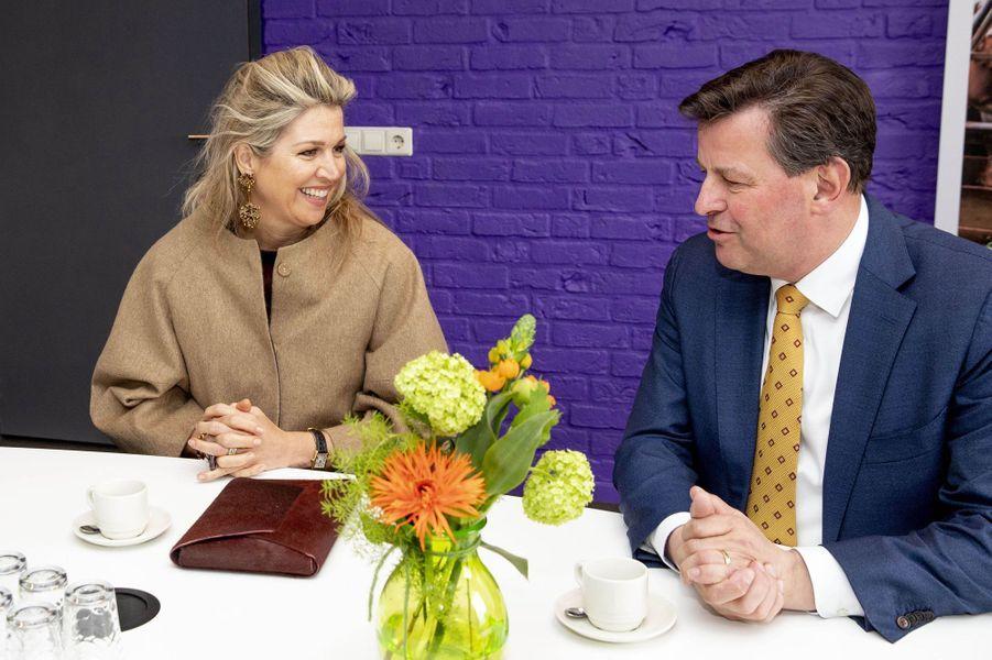 La reine Maxima des Pays-Bas en visite de travail à Varsseveld, le 3 avril 2019