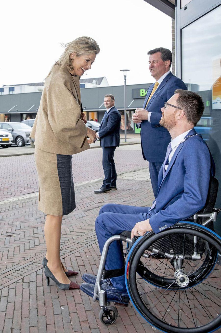 La reine Maxima des Pays-Bas dans une tenue Natan à Varsseveld, le 3 avril 2019