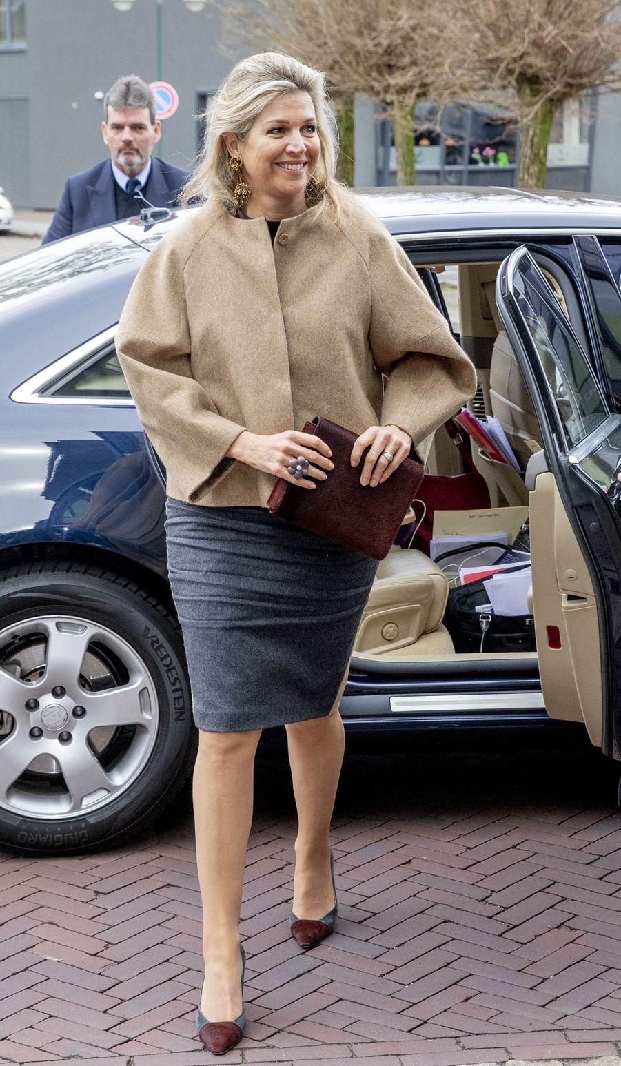 La reine Maxima des Pays-Bas à son arrivée à Varsseveld, le 3 avril 2019